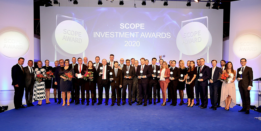 Die Gewinner der Scope Investment Awards 2020 bei der Preisverleihung am 27. November 2019 in Frankfurt